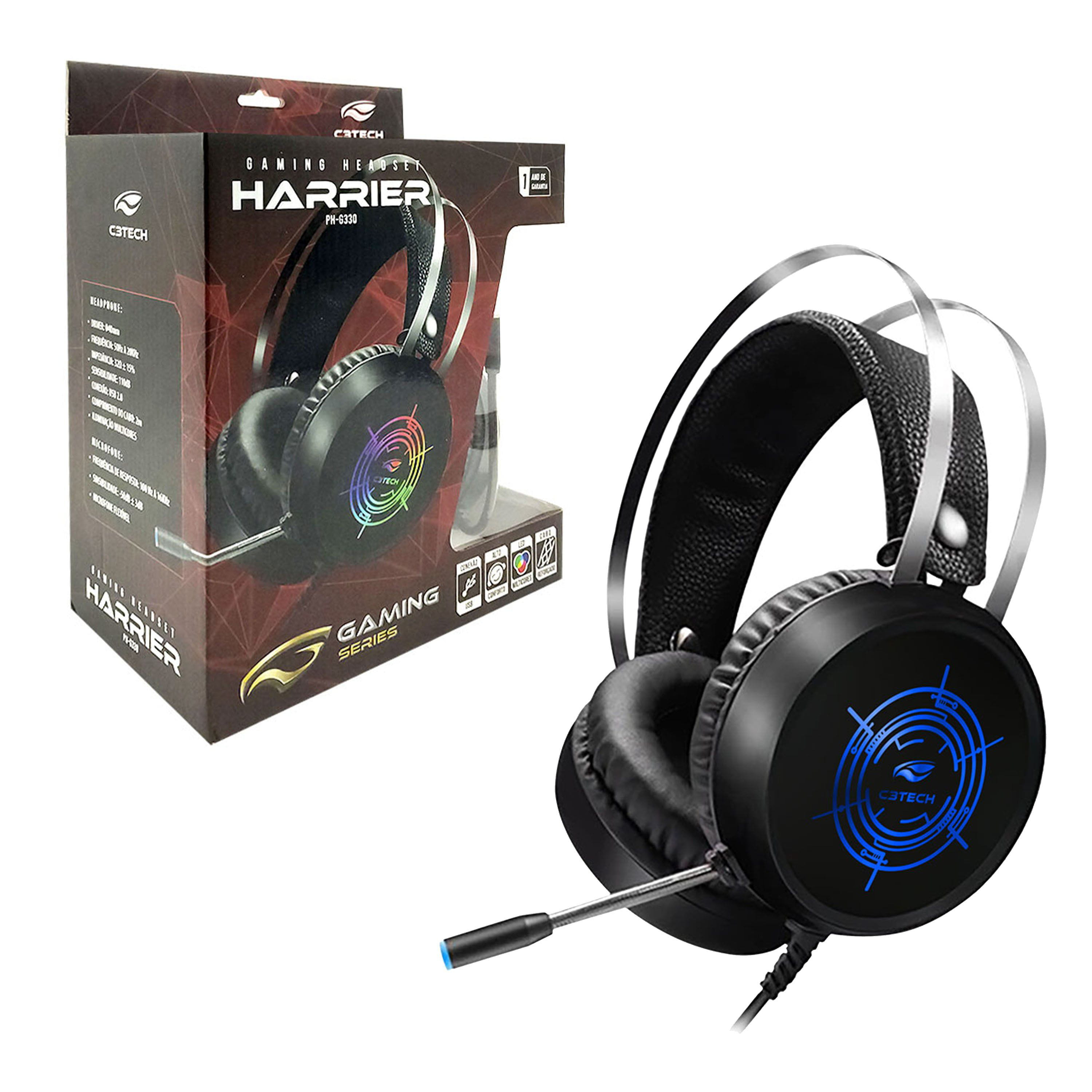 Headset Gamer USB C3Tech Harrier II PH-G330V2 LED Preto 2m de Cabo
