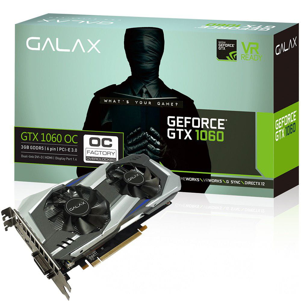 Placa de Video Nvidia GTX1060 OC 3GB Galax ddr5 192 bits - 60NNH7DSL9C3