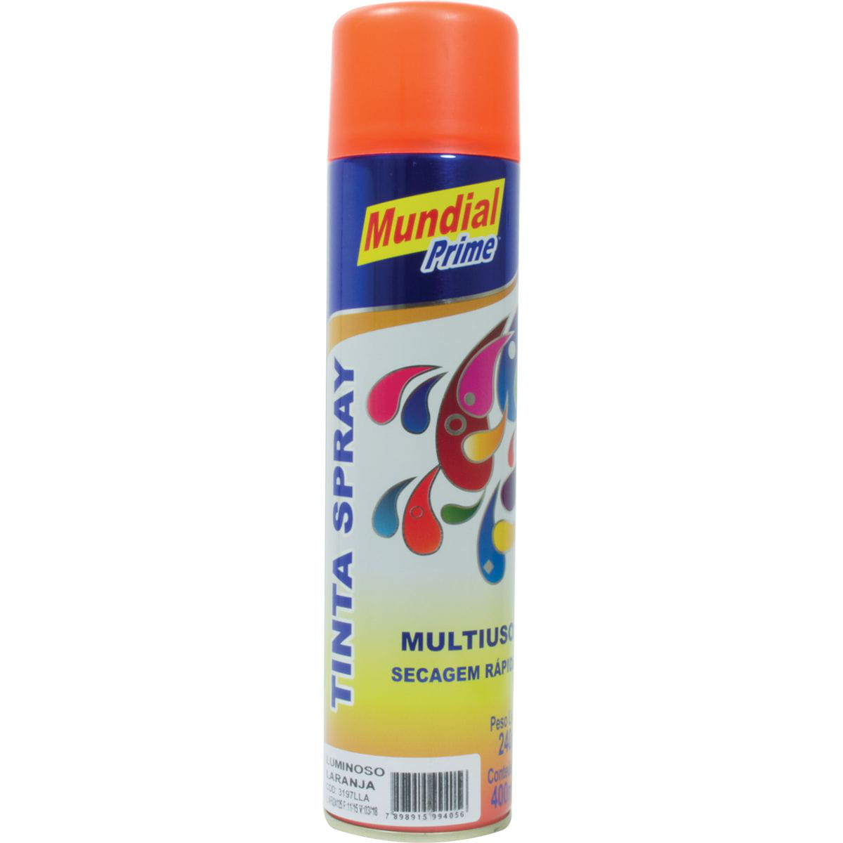 Tinta Spray Luminosa Laranja 400ml Mundial Prime