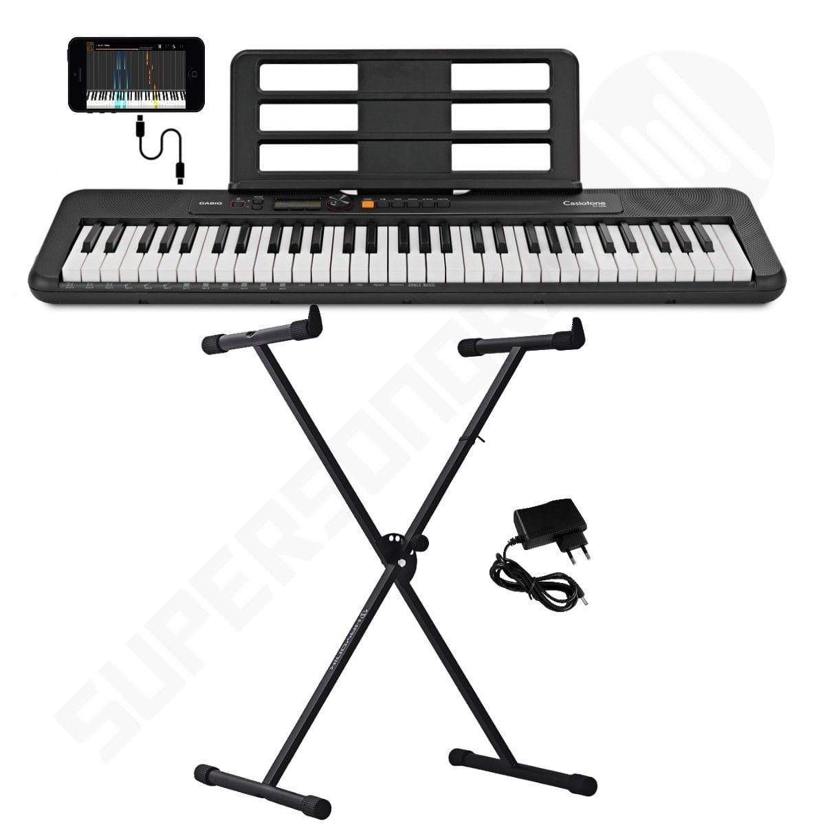 Kit Teclado Musical CASIOTONE CT S200 CASIO Preto Aplicativo Chordana Play + Suporte X