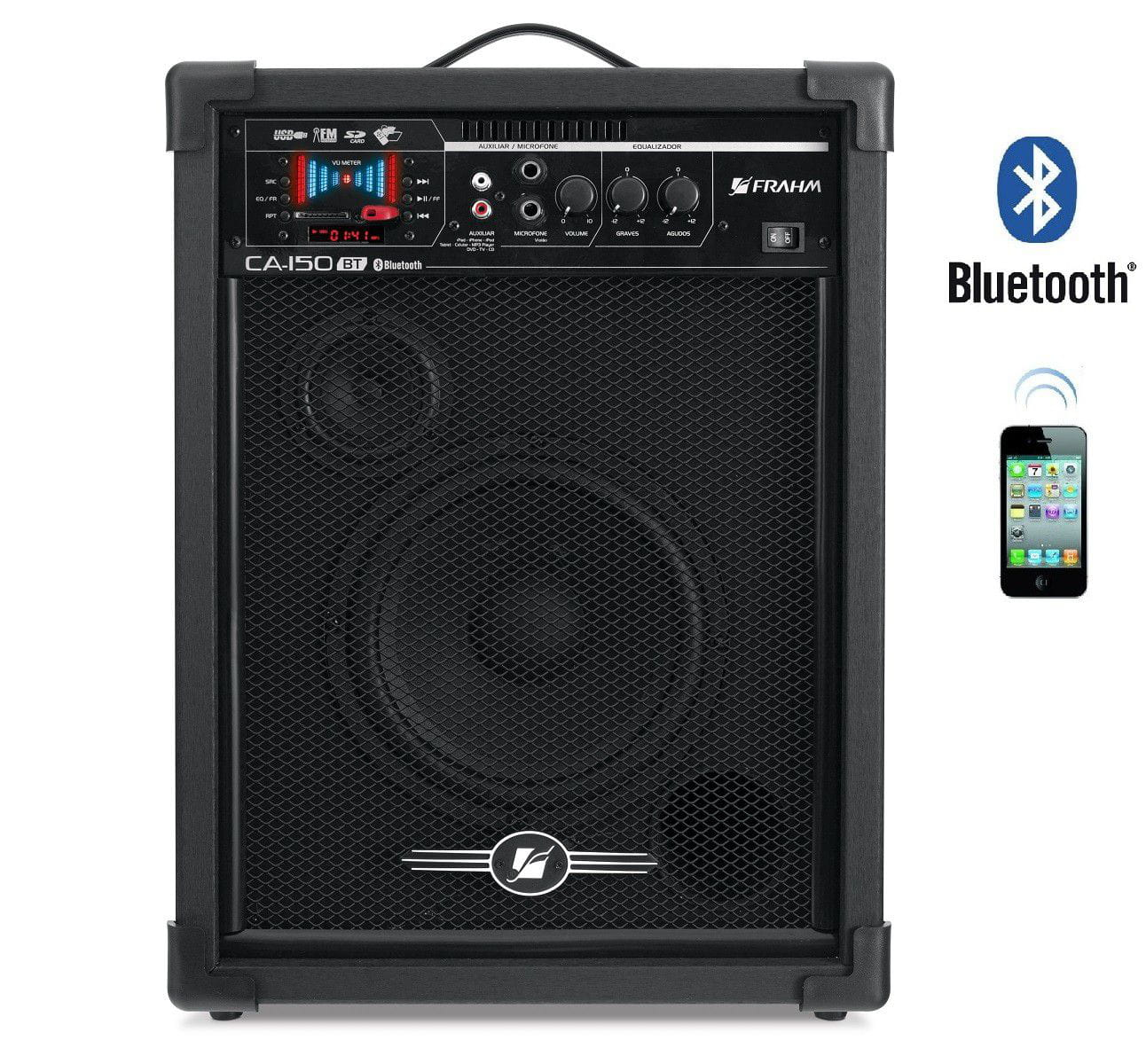 Caixa Amplificada Multiuso CA 150 Frahm - 50W - Bluetooth - USB - SD CARD