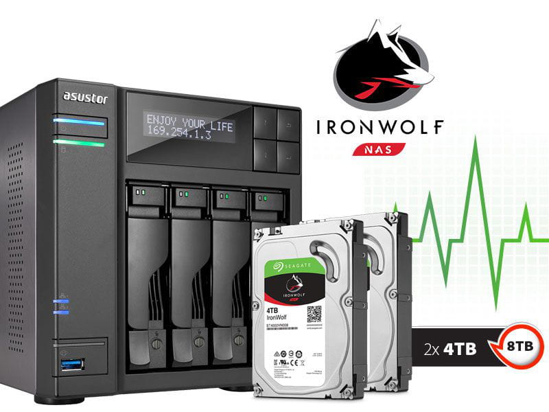 Storage NAS Asustor 8TB com HD  Seagate Ironwolf - AS6204T8000 intel quad core j3160 1,6ghz 4gb ddr3 torre 8tb