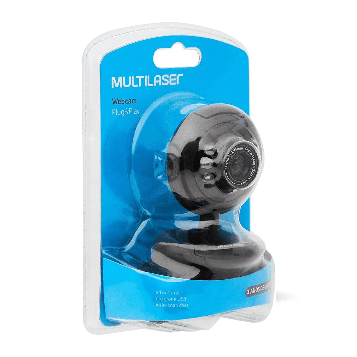 WEBCAM MULTILASER PLUG E PLAY WC045 16MP MICROFONE NIGHTVISION LED NOTURNO USB PRETO 1M DE CABO