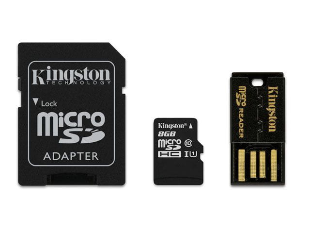 Cartao de memoria classe 10 kingston mbly10g2/8gb multikit 8gb micro sdhc+adaptador sd+adaptadorusb