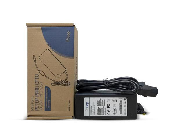 Fonte pctop p/ cftv/led/notebook 2.1/5.5mm 12v/5a c/ cabo alimentacao incluso - mfcp125a