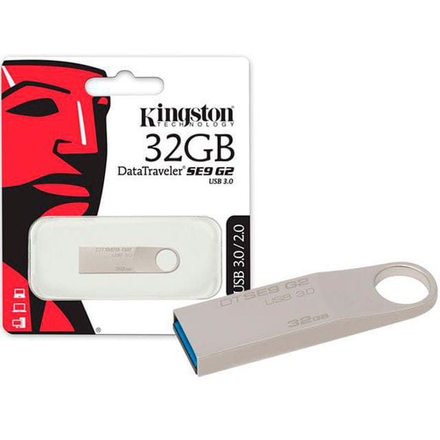 Pen Drive 32GB Kingston Datatraveler SE9 G2 USB3.0 Prata - DTSE9G2/32GB