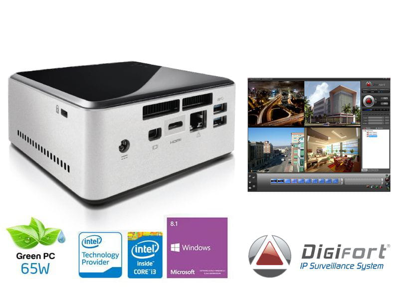 Nvr pro multimidia digifort centrium security standard 7.1 ultratop nuc intel core i3 4030u 4gb 1tera 4cam wifi bt windows ip