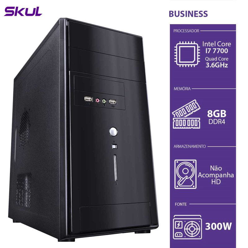 COMPUTADOR BUSINESS B700, i7 7700 3.6GHZ, 8GB DDR4, SEM HD, HDMI/VGA, FONTE 300W