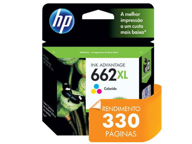 Cartucho de tinta ink advantage hp suprimentos cz106ab hp 662xl tricolor 8,0 ml