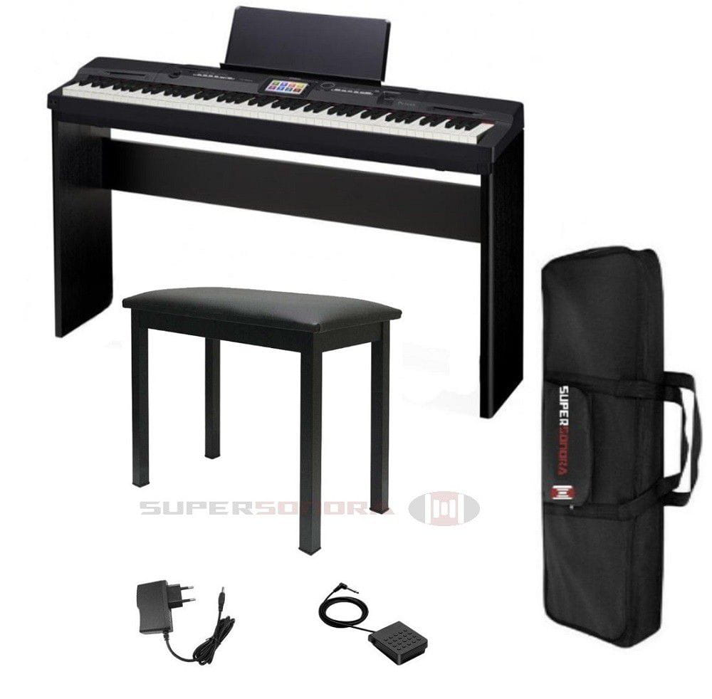 11d2f663733 Kit Piano Digital CASIO Priva PX-360M Preto 88 Teclas -Tela Touch Colorida  + Estante p  Piano CS-67BK + Banqueta + Bag + Pedal + Adaptador CA +  Suporte para ...