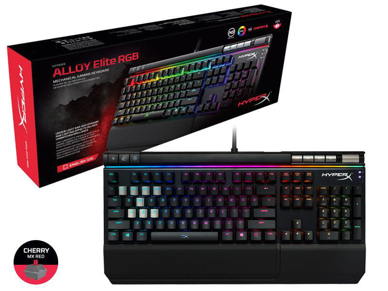 Teclado gamer hyperx hx-kb2rd2-us/r2 mecanico alloy elite rgb cherry mx red