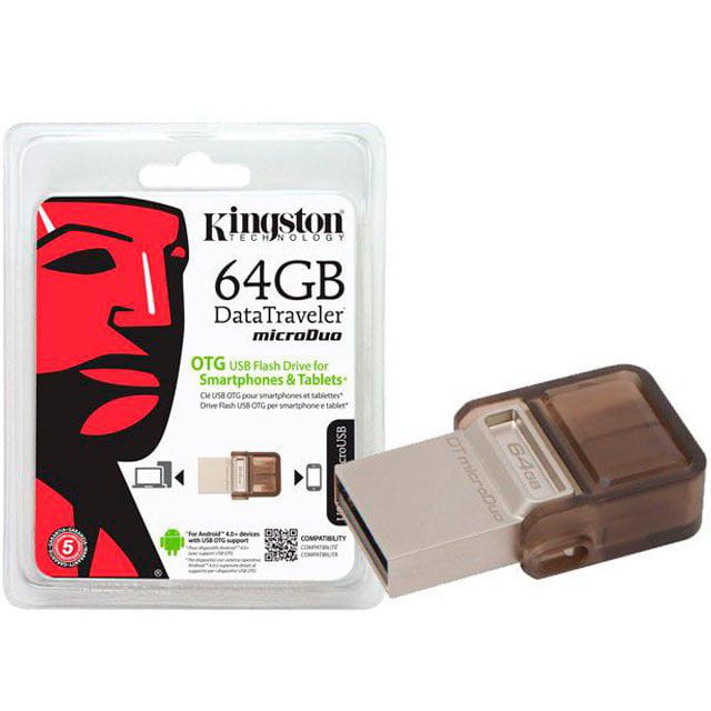 Pen Drive 64GB Kingston DT Micro Duo USB e Micro USB2.0 OTG - DTDUO/64GB