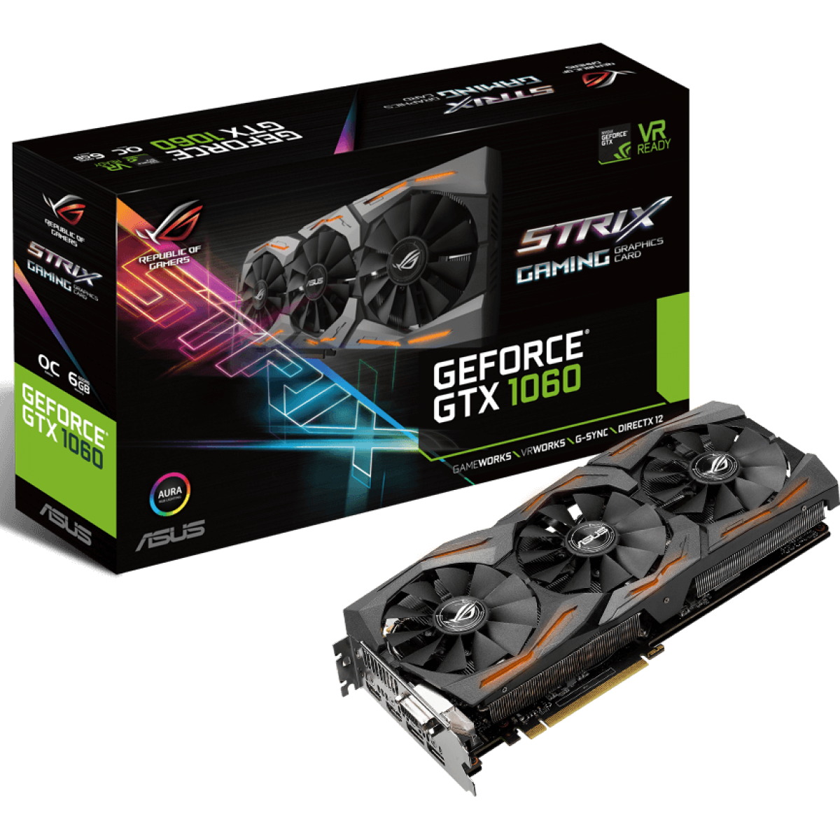 Placa de Video Nvidia GTX1060 6GB Asus Strix 192Bits GTX1060-O6G-GAMING - 90YV09Q0