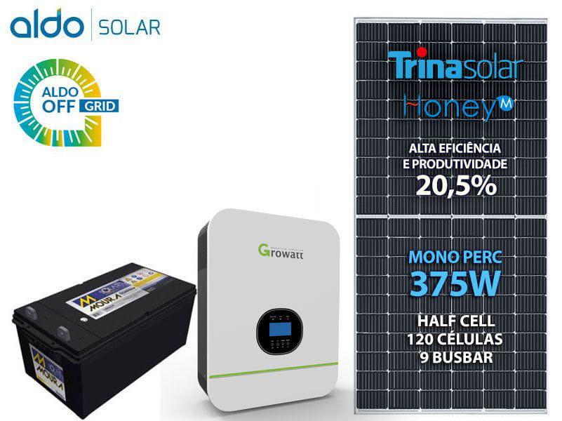Gerador De Energia Solar Growatt Off Grid Metalica Perfil 55cm Romagnole Growatt Gf 2,25kwp Spf 3kva Mppt Mono 220v 4,8kwh