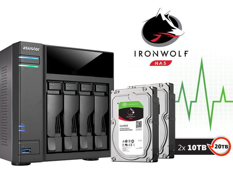 Storage NAS Asustor 20TB com HD  Seagate Ironwolf - AS6104T20000 intel dual core  1,6ghz 2gb ddr3 torre 20 teras