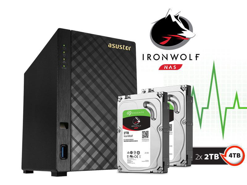 Storage NAS Asustor 4TB com HD Seagate Ironwolf AS1002T4000 v2 marvell dual core 1,6 ghz 512mb ddr3 torre 4tb