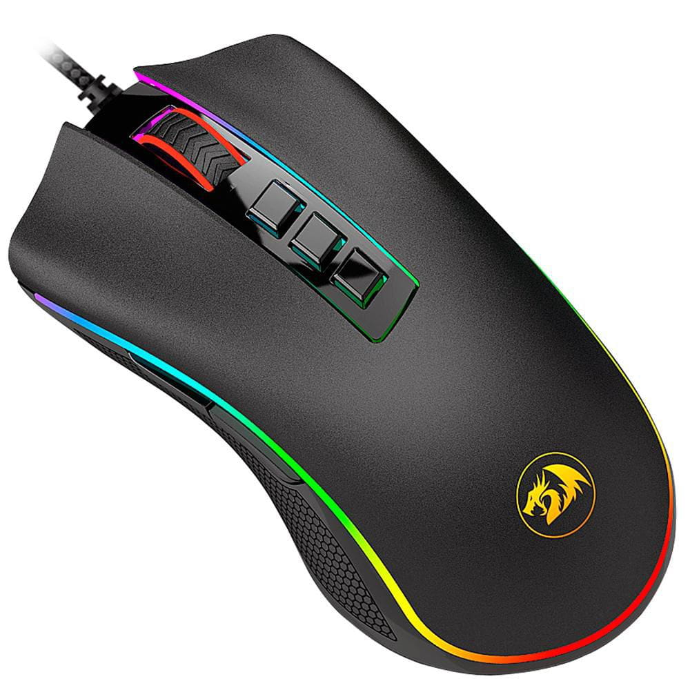 MOUSE GAMER REDRAGON COBRA PRETO 10.000 DPI  COM LED RGB M711