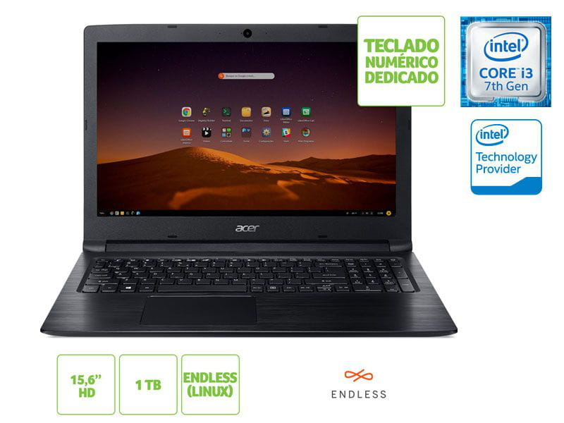 Notebook Acer A315-53-343Y i3 7020u 4GB 1TB Linux 15.6