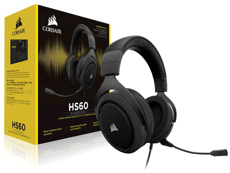 Headset Gamer Com Fio Corsair Ca-9011173-na Hs60 Virtual 7.1 Surround Carbon