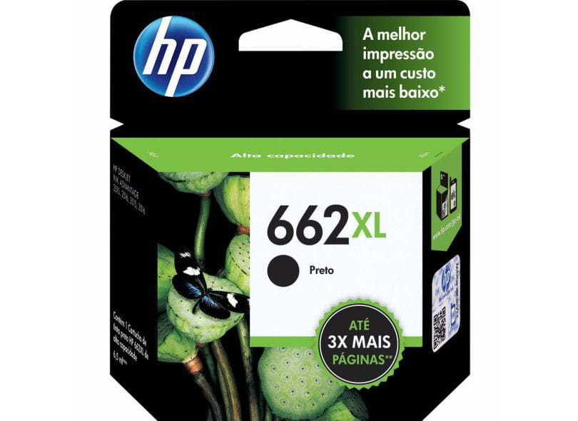 CARTUCHO HP 662XL PRETO ALTO RENDIMENTO 6,5ML - CZ105AB