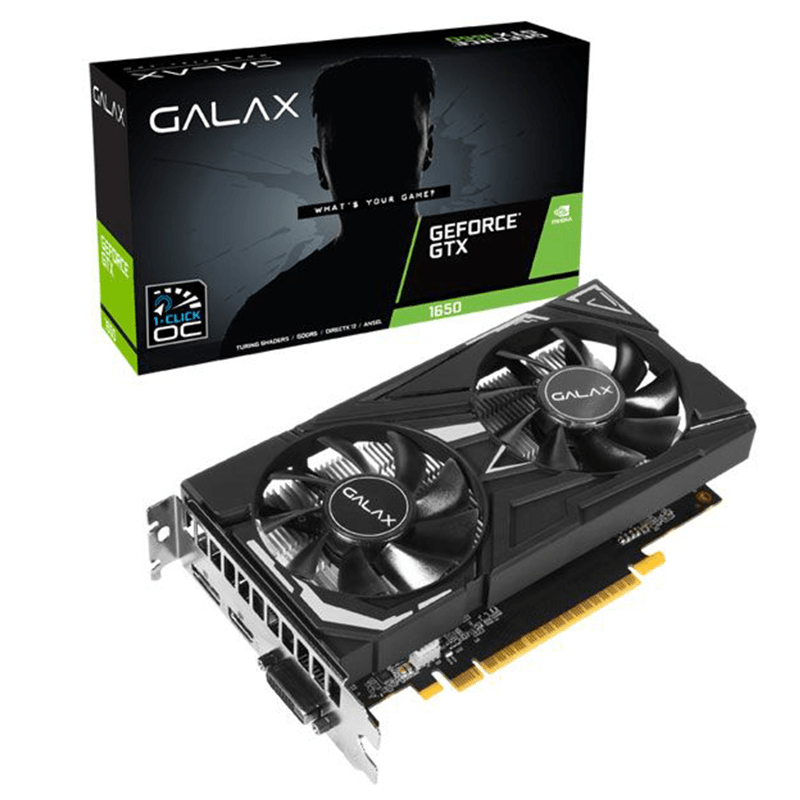 Placa de Video Galax GTX1650 4GB GDDR5 128Bit 1 Click OC Dual Geforce - 65SQH8DS08EX