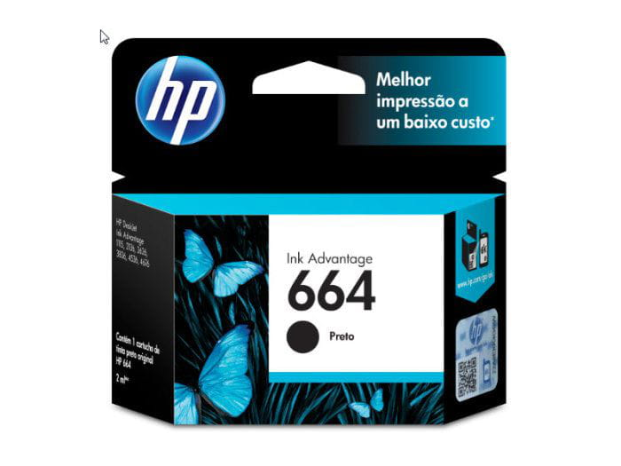 Cartucho HP664 Preto 2ml - F6V29AB