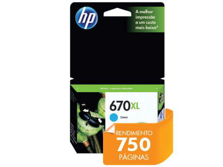 Cartucho HP 670Xl Ciano 7,5ml - CZ118AB
