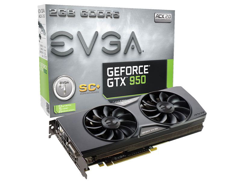 Geforce evga gtx performance nvidia gtx 950 superclocked+ acx 2.0 2gb ddr5 128bits 6610mhz 1165mhz 768 cuda cores dvi hdmi dp