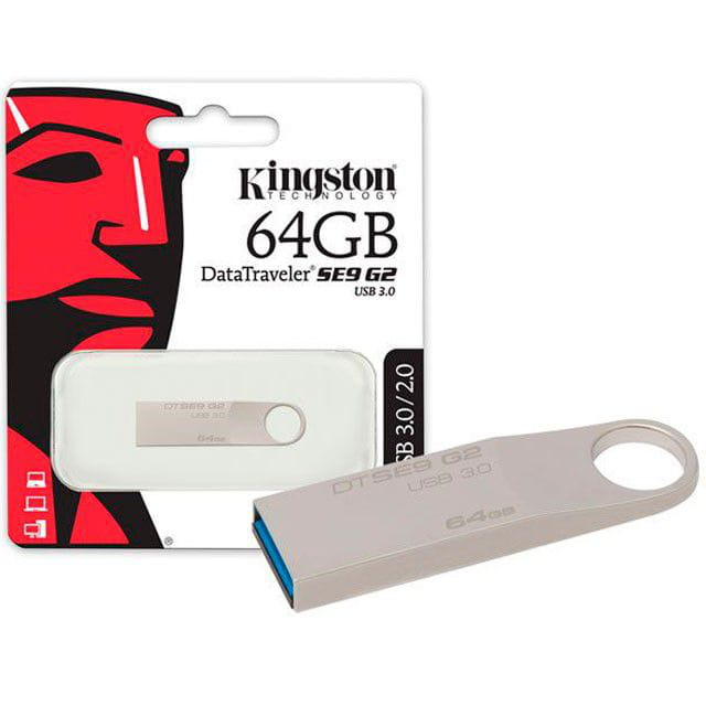 Pen Drive 64GB Kingston Datatraveler Se9 G2 USB3.0 Prata - DTSE9G2/64GB