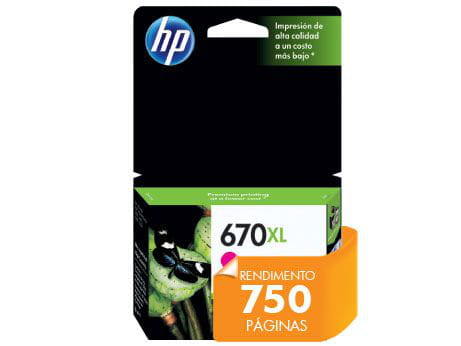 Cartucho de tinta ink advantage hp suprimentos cz119ab hp 670xl magenta 8,0 ml