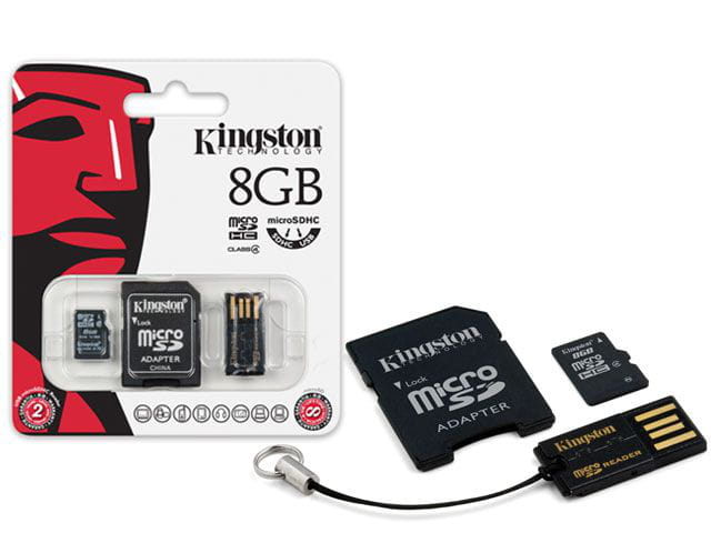 Cartao de memoria classe 4 kingston mbly4g2/8gb multikit com micro sdhc de 8gb + adaptador sd + adaptador usb