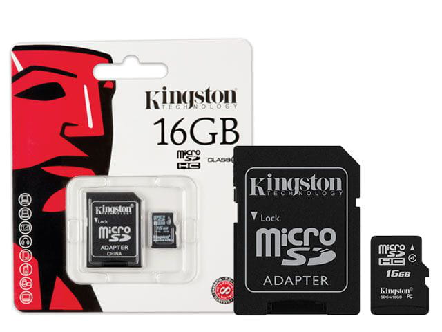 Cartao de memoria classe 4 kingston sdc4/16gb micro sdhc 16gb com adaptador sd classe 4