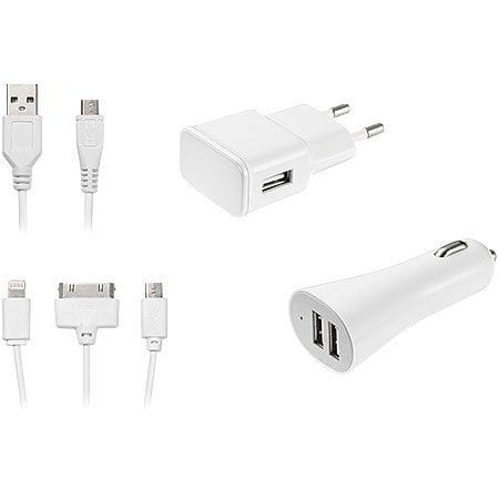 Kit de Carregador Multilaser 3 em 1 Micro USB/Iphone 4/Iphone 5 - CB068