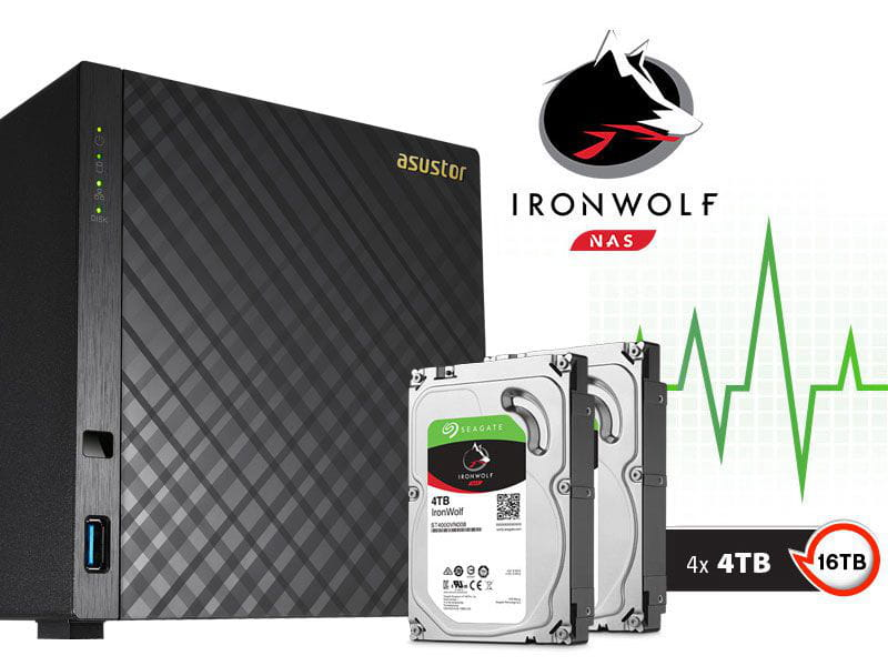 Sistema de backup nas com disco ironwolf asustor as3204t16000 celeron quad core 1,6ghz 2gb ddr3 torre 16tb