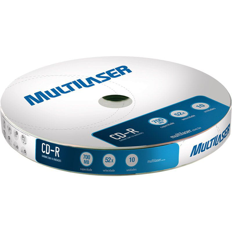 Cd-r 700mb 52x Cd027 Shirink C/10 Und Multilaser