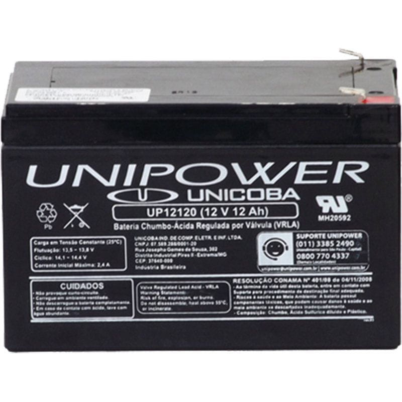Bateria 12v 12ah Selada F250 Up12120 Rt Unipower
