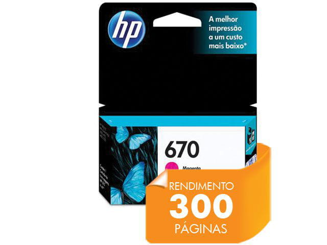Cartucho de tinta ink advantage hp suprimentos cz115ab hp 670 magenta 4,0 ml