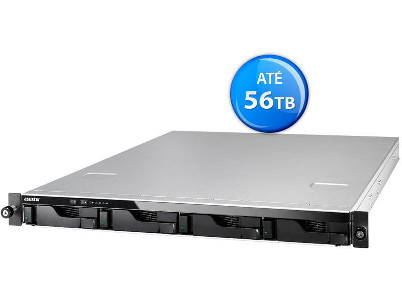 Storage NAS Asustor - AS6204RS intel quad core j3160 1,6ghz  4gb ddr3 rack 1u 4 baias hot-swap