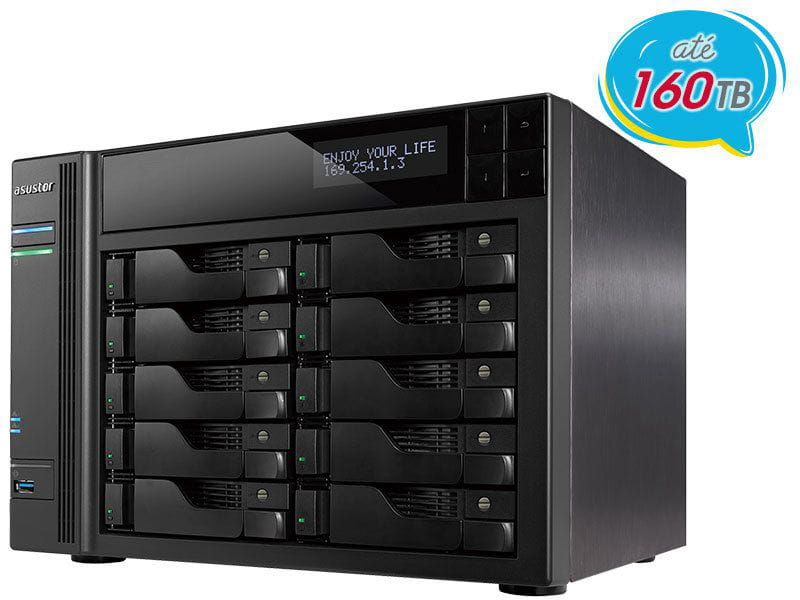 Storage NAS Asustor AS6210T intel quad core j3160 1,6ghz 4gb ddr3 torre 10 baias hot-swap