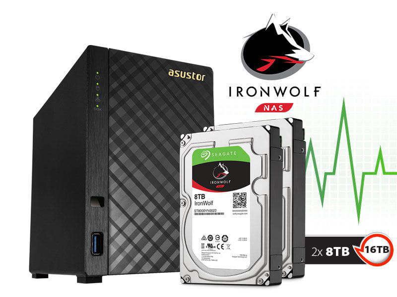 Storage NAS Asustor 16TB com HD Seagate Ironwolf AS1002T16000 v2 marvell dual core 1,6 ghz 512mb ddr3 torre 16tb