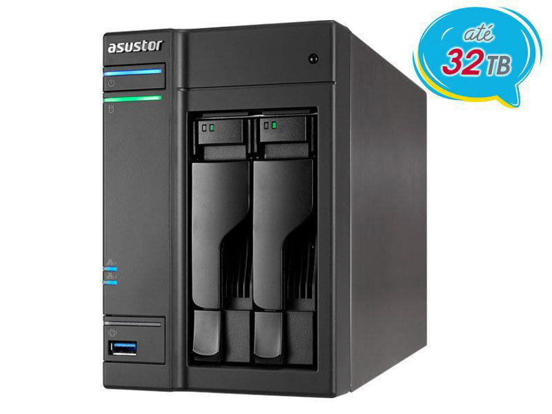 Storage NAS Asustor AS6302T intel dual core j3355 2.0ghz 2gb ddr3 torre 2 baias
