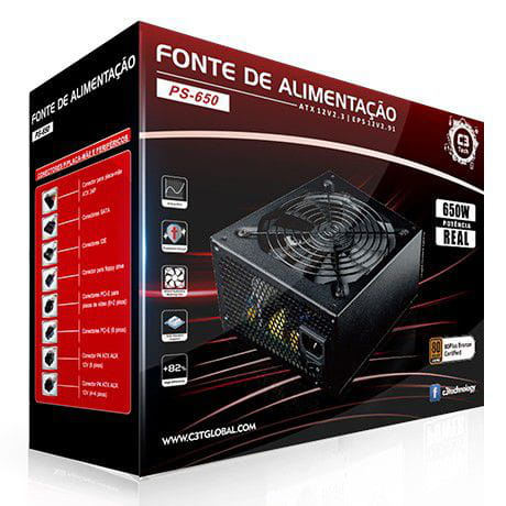 Fonte Gamer 650w PS-650 80 Plus Bronze