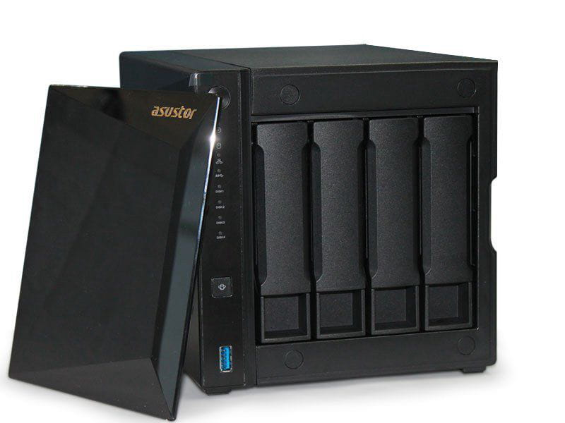 Storage NAS Asustor AS4004T marvell dual core 1,6ghz 2gb ddr4 torre 04 baias hot-swap