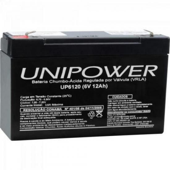 Bateria Estacionária Selada 6V/12A VRLA UP6120 UNIPOWER