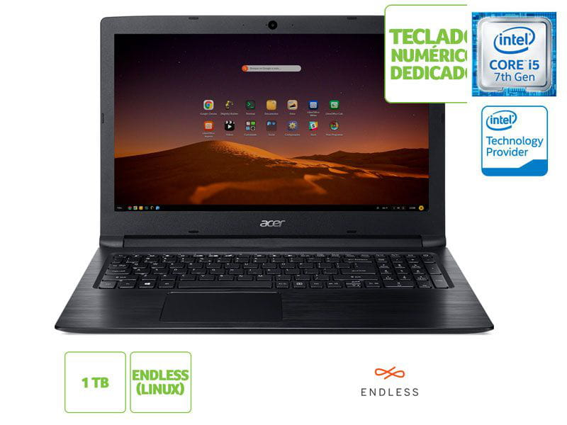 Notebook Acer A315-53-57G3 i5 7200u 8GB 1TB 15.6
