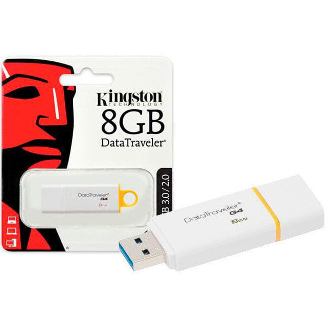 Pen Drive 8GB Kingston Datatraveler Generation4 Amarelo USB3.0 - DTIG4/8GB
