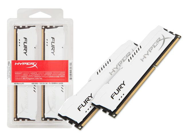 Memoria desktop gamer ddr3 hyperx hx318c10fwk2/16 fury 16gb kit (2x8gb) 1866mhz ddr3 non-ecc cl10 240-pin udimm white