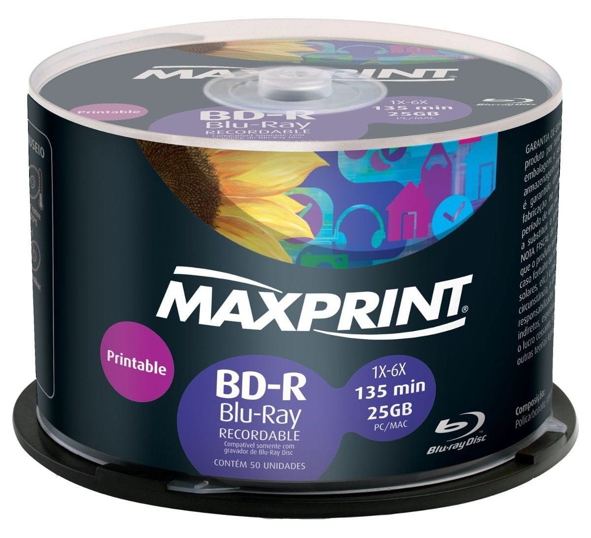 BLU-RAY PRINTABLE MAXPRINT 25GB/6X - UNIDADE
