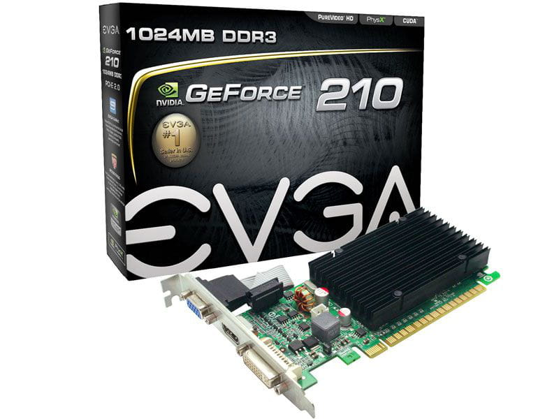 Geforce evga gt mainstream nvidia gt 210 low profile 1gb ddr3 64 bits 1200mhz 520 mhz 16 cudas dvi hdmi vga