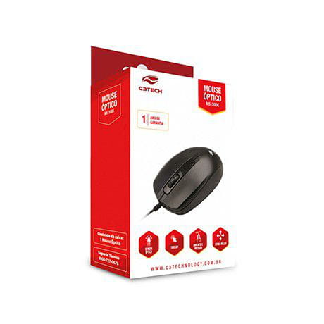 Mouse C3 Tech USB Preto - MS-30BK